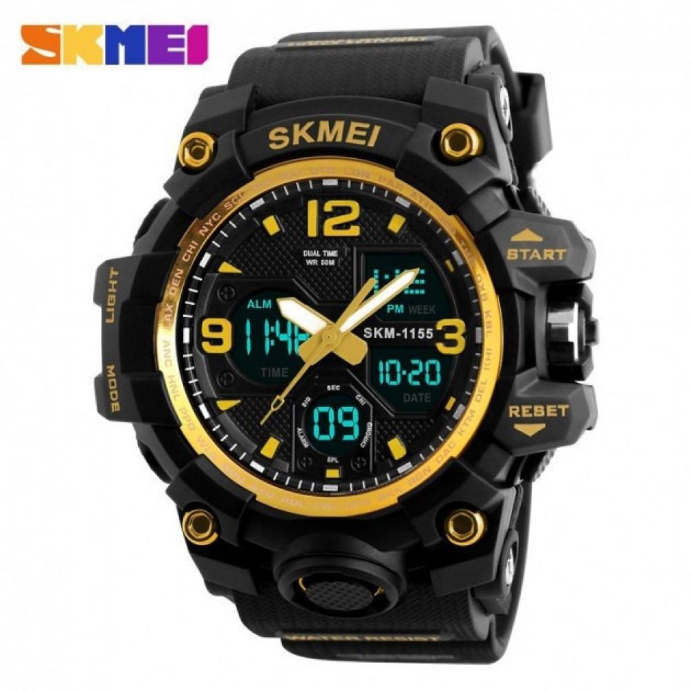 Часы мужские водостойкие спортивные SKMEI 1155B черные с золотым
