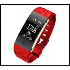 Водонепроницаемые смарт браслет UWATCH S2+B  цветной дисплей красный с датчиком сердечного ритма и кровяного давления