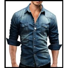 Джинсовая мужская рубашка код 60 синяя с длинным рукавом размеры M- L