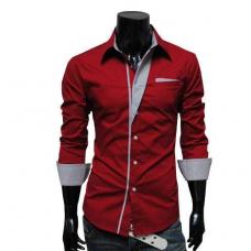Рубашка мужская приталеная M, L, XL, XXL ( красная ) код 2