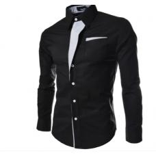 Рубашка мужская приталеная M, L, XL, XXL ( черная ) код 2