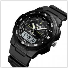 Часы мужские спортиыне водонепроницаемые Skmei 1454 черные (5АТМ)