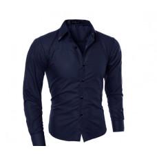 Мужская рубашка приталенная длинный рукав M- XL код 1 темно- синий