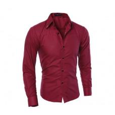 Мужская рубашка приталенная длинный рукав M- XL красный  код 1