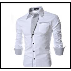 Рубашка мужская приталеная M, L, XL, XXL ( белая  ) код 2