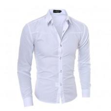 Мужская приталенная рубашка в британксом стиле длинный рукав белая код 1
