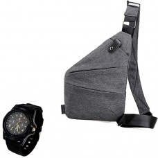Сумка-мессенджер через плечо + Наручные часы 2Life Crossbody Серый (n-351)