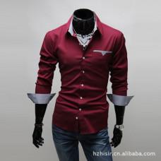 Мужская рубашка с длинным рукавом (красная) New 2021 код 46