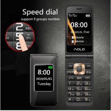 Раскладной телефонH-mobileDualBlackс двойным экраном и громкий звуком
