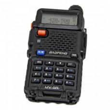 Рация Baofeng UV 5R VHF 136-174 МГц/UHF 400-520 МГц,  LCD, LED фонарик, 128 диапазонов, FM радио. Black