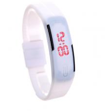 Наручные LED часы браслет белый