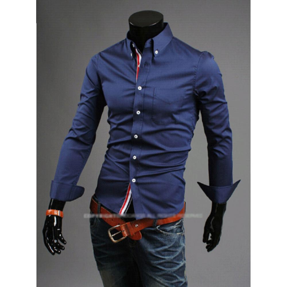 Рубашка с длинным рукавом темно-синяя код 44