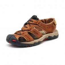Мужские сандалии YALASOU коричневые  40  натуральная кожа Удобные и лёгкие!