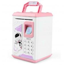 Электронный сейф копилка Robot Bodyguard с отпечатком пальца Бело-розовый (101255)
