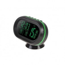 Часы термометр вольтметр автомобильные VST 7009V Черный с зеленым (008099)