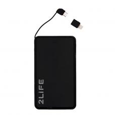 Портативная батарея со встроенным кабелем УМБ Power Bank 2Life 10000 mAh lightning Black (n-458)