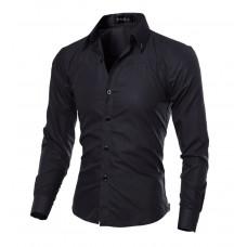 Рубашка в британксом стиле длинный рукав M- XL черная код 1