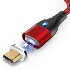 Магнитный кабель для зарядки и передачи данных под microUSB  Greenport M10A1 1m 3.0A Red (011P-mRe)