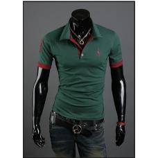 Мужская футболка с воротником M-XXL (зеленая) код 56