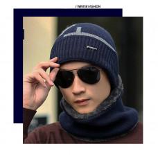 Шапка мужская зимняя без шарфа синяя код 94