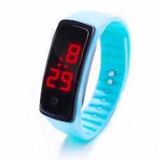 Наручные LED 555 часы браслет голубой