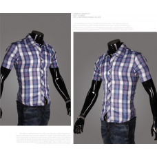 Мужская рубашка с полосками M-XXL код 65синий (крупная клеика)