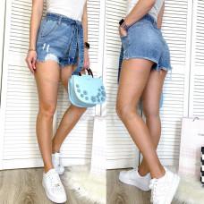 Шорты джинсовые женские с рванкой синие коттоновые 3719 New Jeans размер 25-30 (Н)