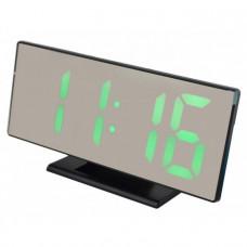 Электронные настольные зеркальные LED часы DS-3618L зеленная подсветка