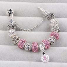 Женский браслет Couqcy Silver Plated Rose Серебристый с розовым (AJ_216pink)