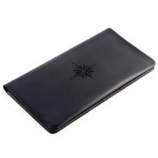 Кожаный клатч-портмоне The Travel с гравировкой Compass Черный (as140101-2)