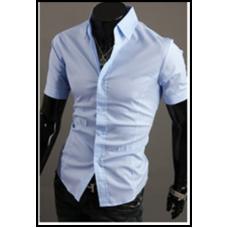 Рубашка мужская голубая классическая M-XXL код 59