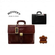 Портфель натуральная кожа производство Италия  Rovicky коричневый