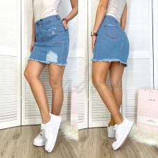 Юбка джинсовая женская с рванкой синяя летняя стрейчевая 4221-100 Woox  размер  26-31 (Н)