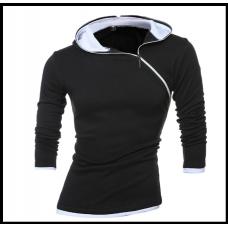 Свитшот с капюшоном на молнии код 170 чёрный с серым