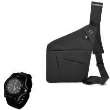 Сумка-мессенджер через плечо 2Life Crossbody Темно-Серый + Наручные часы (n-350)