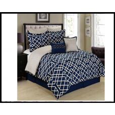 Комплект постельного белья, хлопок 160x200, пододеяльник, простынь, наволочки синий
