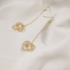"""Серьги Collection """"Сердце"""" на цепочке цвет золото с кристалом в середине"""