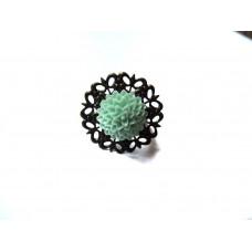 Кольцо цветок N53 Бирюза Акрил (956053)