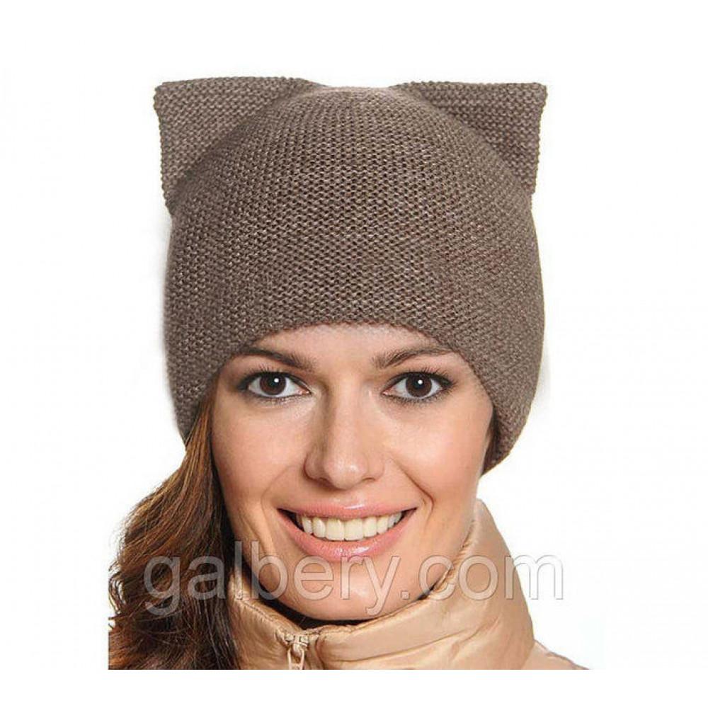 """Женская шапка с ушками """"Кошка"""" двойная вязка"""