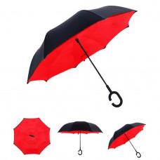 Умный зонт наоборот Supretto Черный с красным (4687-0004)