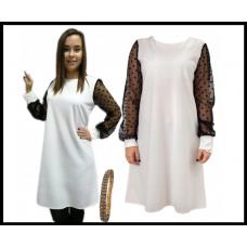 Модное платье с прозрачными рукавами, белое