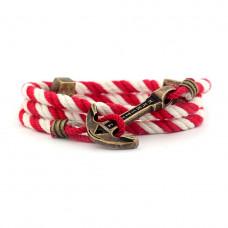 Браслет с якорем MARITIME Marine Candy Красно-белый (mt1217)