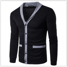 Свитер, кофта чёрная с карманами  M-XL  код 112
