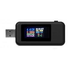Тестер USB для измерения тока; напряжения; мощности Черный (USB10IN1)
