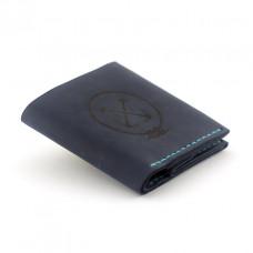 Кожаный кошелёк Wallet Square с отделением для монет Темно-синий (as120103)