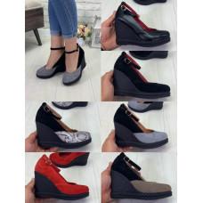Туфли женские, с ремешком, на танкетке, натуральные кожа и замш, размеры 35-41, 5 цветов
