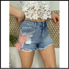 Шорты джинсовые с апликацией Fleur 4073