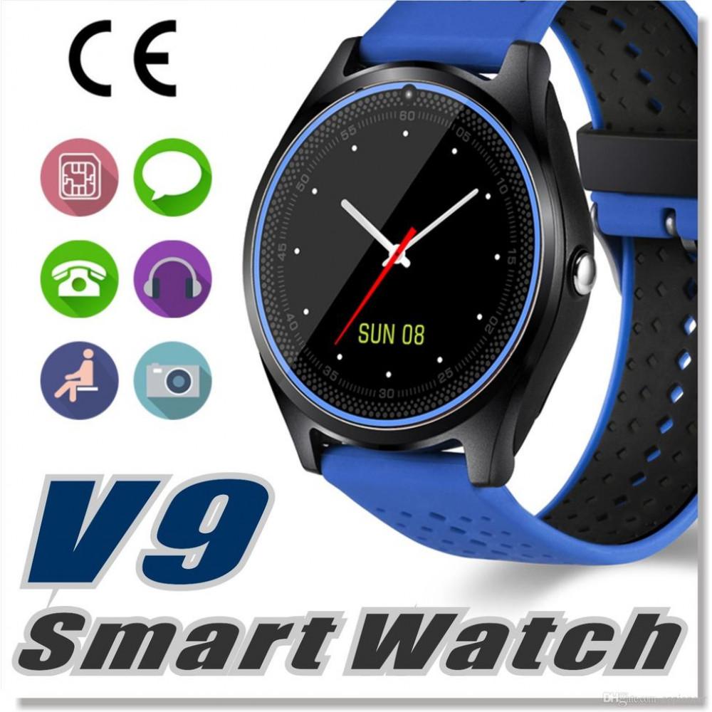 Смарт Часы V9 синие с GPS водонепроницаемые Поддержка sim-карт