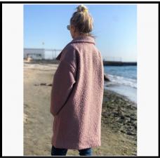 Пальто женское свободного кроя. Ткань: букле барашек