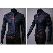 Рубашка синяя длинный рукав  L, XL, XXL
